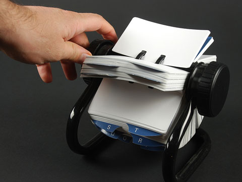 searching a rolodex contact directory